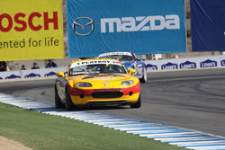 hristian Franck leads Todd Buras to the finish line at Mazda Raceway.